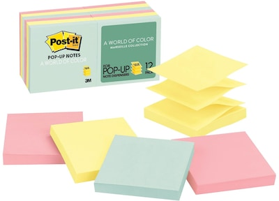 "Post-it® Pop-Up Notes, 3"" x 3"", Marseille Collection, 12 Pads/Pack (R33012AP)"