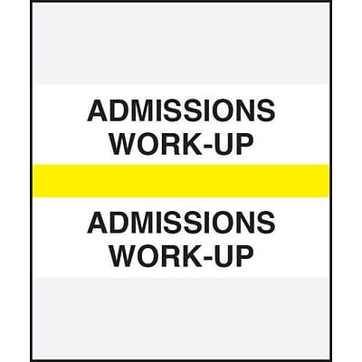 Medical Arts Press® Standard Preprinted Chart Divider Tabs, Admissions Work-Up, Yellow