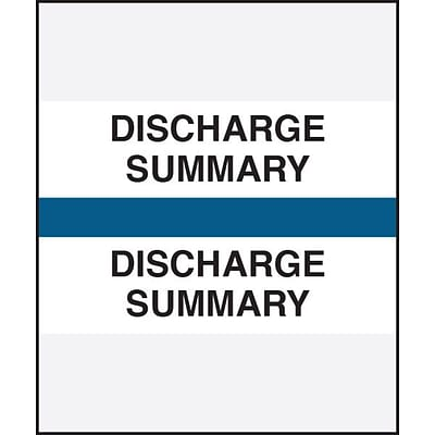 Medical Arts Press® Standard Preprinted Chart Divider Tabs, Discharge Summary, Dark Blue