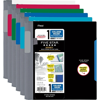 Mead Five Star 1-Subject Subject Notebook, 8.5 x 11, College Ruled, 100 Pages, Assorted Colors (06322)