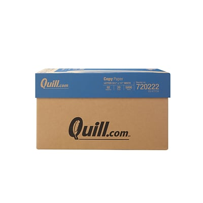 Quill Brand Copy Paper, 8 1/2 x 11, 92 Bright, 20 LB, 10 Reams of 500 Sheets
