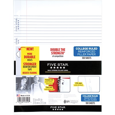Five Star® Reinforced Loose Notebook Filler Paper, White, College Rule, 8-1/2 x 11, 100 Sheets