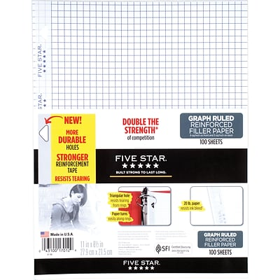 Five Star® Reinforced Graph Ruled Filler Paper, 11 x 8 1/2, 100 Sheets (17012)