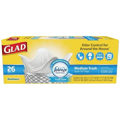 Glad OdorShield Quick-Tie 8 Gallon Medium Trash Bags, Fresh Clean, .74 mil, 21.6 x 23, White, 26CT(78815)