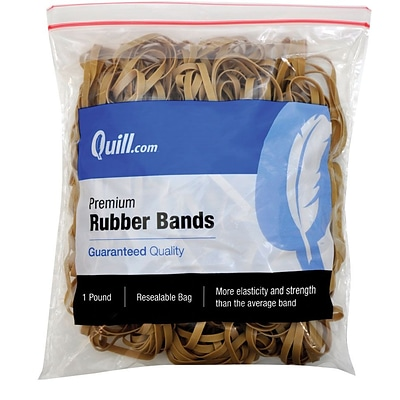 Quill Brand® Premium Rubber Bands, Postal Size #64, 3-1/2L x 1/4W, 1 lb Resealable Bag