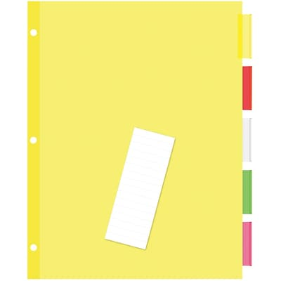 Quill® Standard Indexes- Dividers; 5 Tabs, 5 Sheets/Set, Assorted-Color Tabs