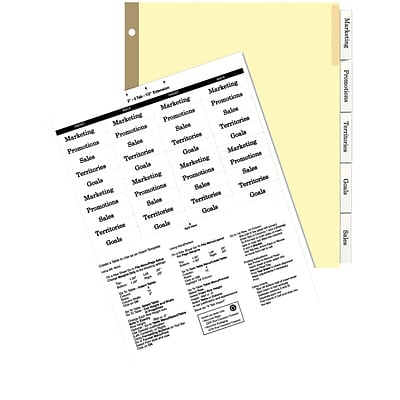 Quill Brand® Big Tab Indexes - Dividers for Laser and Inkjet Printers; 5-Tab, Buff, Clear Tabs