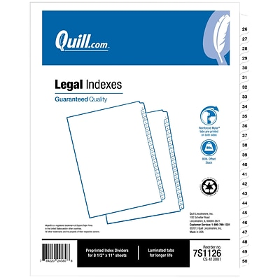 Quill Brand 26-50 Numbered Index; Letter Size; 25 Sheets per Set