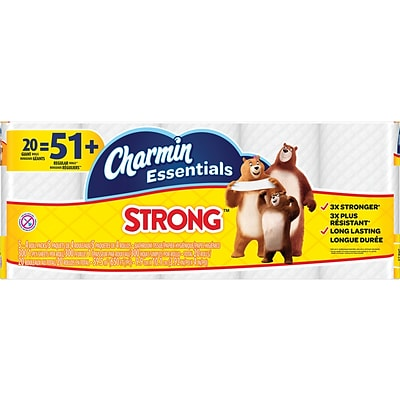 Charmin Essentials Strong™ Toilet Paper, 1-Ply, 300 Sheets/Roll, 20 Giant Rolls/Pack (96896)