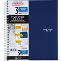Mead® Five Star® Wirebound Notebook, 3-Subject, College Ruled, 8-1/2 x 11, Navy