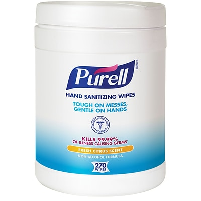 Purell® Hand Sanitizing Wipes, Fresh Citrus Scent, 270 Wipes/Pack (9113-06)