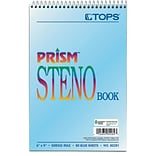 TOPS® Prism Steno Pad, 6 x 9, Gregg Rule, Blue, 100% Recycled, 80 Sheets, 4/Pack (80284)