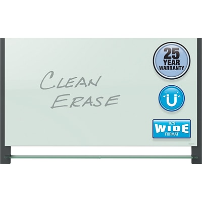 Quartet® Evoque™ Magnetic Glass Dry-Erase Board with Invisible Mount, Wide Format, 74 x 42, Black Aluminum Frame