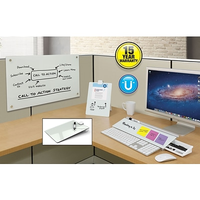 "Quartet Infinity™ Magnetic Glass Dry-Erase Cubicle Board, White Surface, Frameless, 30""W x 18""H (PDEC1830)"