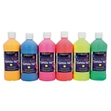 Sargent Art® Special Tempera Paint; Assorted Fluorescent, 6/Set