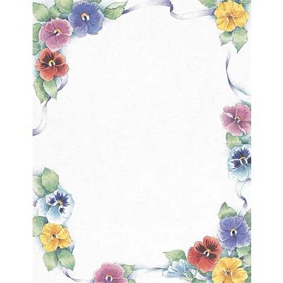 Great Papers! Pretty Pansies Letterhead, 8.5 x 11, 80 Count