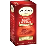 Twinings® Classic Decaffeinated English Breakfast Tea, 1.76-oz., 25/Box