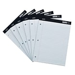 Staples® Double Pad Notepads, 8.5 x 11.75, Wide, White, 100 Sheets/Pad, 6 Pads/Pack (35717/18580)