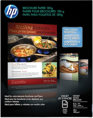 "HP Professional Inkjet Brochure Paper, 8 1/2"" x 11"", Glossy, 150/Pack"