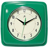 Infinity Instruments 9 Wall Clock, Square Retro Green