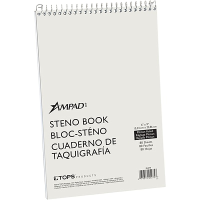 Ampad® Evidence Steno Notebook, 6 x 9, Pitman Rule, Greentint, 80 Sheets/Pad (AMP25275)