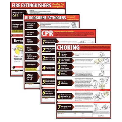 ComplyRight™ Lifesaving Posters; 4 Poster Set, CPR, Choking, Bloodborne Pathogens, Fire Extinguisher (WR0242)