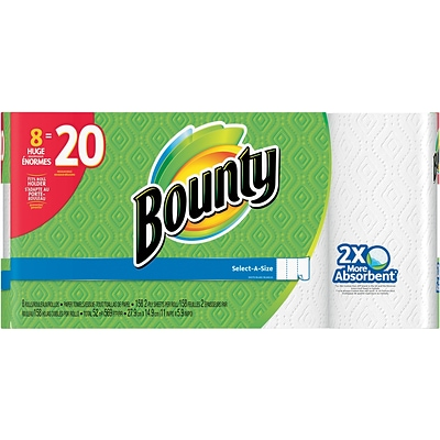 Bounty® Select-A-Size™ Paper Towel Rolls, White, 2-Ply, 158 Sheets/Roll, 8 Huge Rolls = 20 Regular Rolls