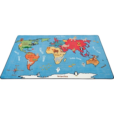 Animals of the World Activity Rug; 9x12, Rectangle