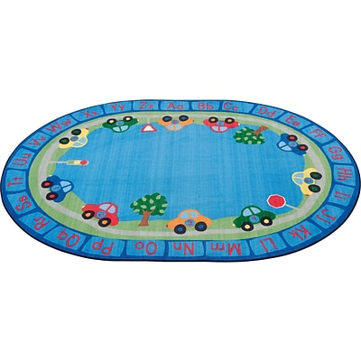 All Around Cars Alphabet Rug; 9x12, Oval