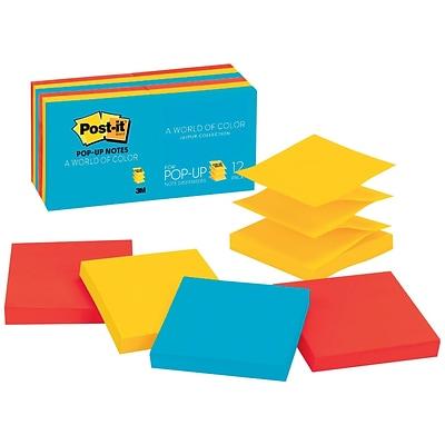 Post-it®, Pop-up Notes, 3 x 3, Jaipur Collection, 12 Pads/Pack (R330-12AU)