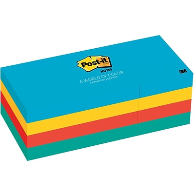 Post-it® Notes, 1 1/2 x 2, Jaipur Collection, 12 Pads/Pack (653-AU)