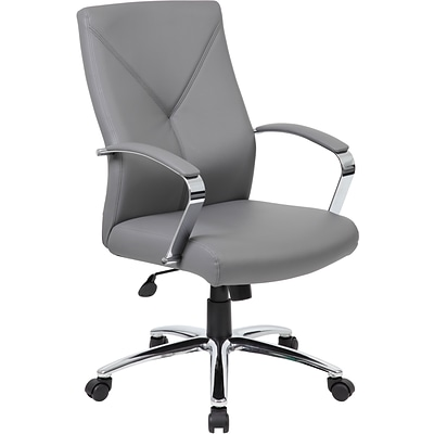 Boss® LeatherPlus Executive Chair, Grey