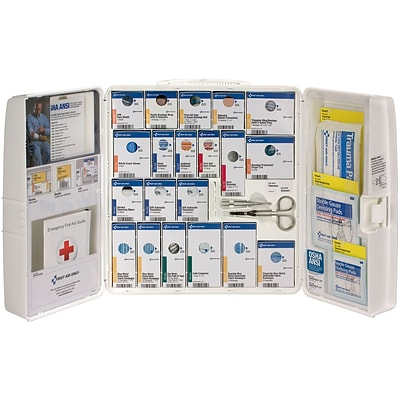 First Aid Only™ ANSI A+ SmartCompliance Large Food Service Hard Plastic First Aid Cabinet w/o Meds for up to 50 People (90660)