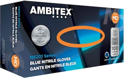 Ambitex(r) Disposable Gloves, Nitrile, Medium, Blue, Powder Free, 6mil, 100/Bx