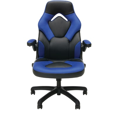 Essentials by OFM ESS-3085-BLU Essentials by OFM Racing Style Leather Gaming Chair, Black/Blue