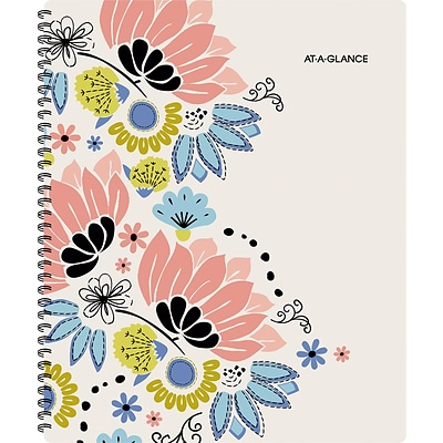 2017-2018 AT-A-GLANCE® 8 1/2 x 11 Claire Academic Weekly/Monthly Planner, 12 Months, Floral (1014-905A-18)