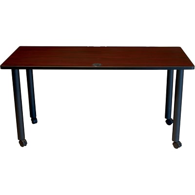 BOSS® 36 x 24 Mahogany Training Table with Black Legs and Casters