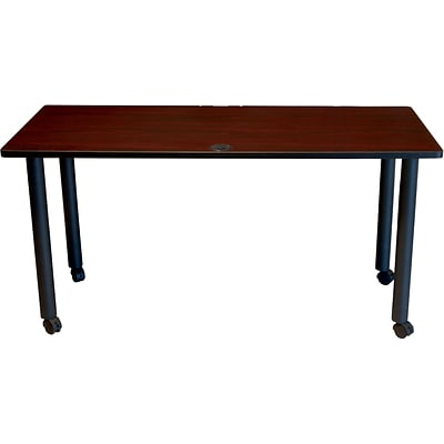 BOSS® 60 x 24 Mahogany Training Table with Black Legs and Casters