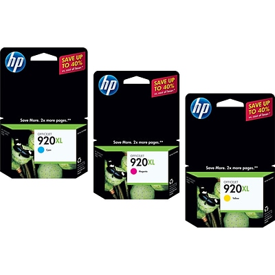 HP 920XL (CN700BN) High Yield Cyan/Magenta/Yellow Ink Cartridge Multi-pack (3 cart per pack)