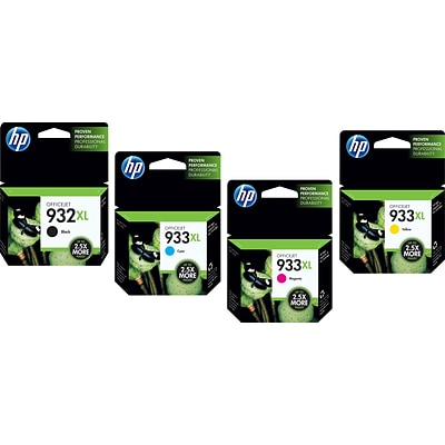 HP 932XL/933XL (C2P00FN140) High Yield Black/Cyan/Magenta/Yellow Inkjet Cartridge Multi-pack (4 cart per pack)