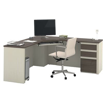 Bestar® Prestige+ Corner Desk Including One Pedestal in White Chocolate & Antigua
