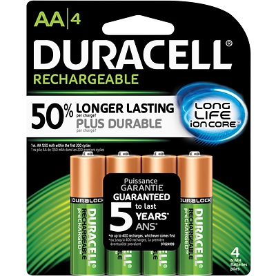 Duracell® Rechargeable NiMH AA Batteries, Long-Life ionCore™, 4-Pack