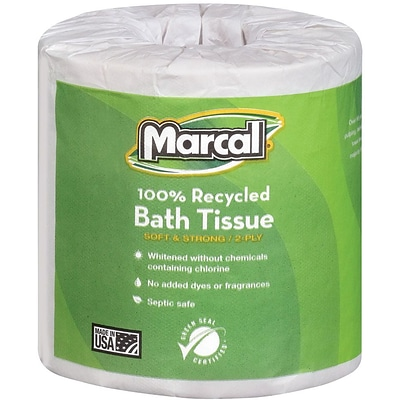 Marcal Small Steps 100% Recycled Bath Tissue Rolls 2-Ply 48 Rolls/Case (6495)