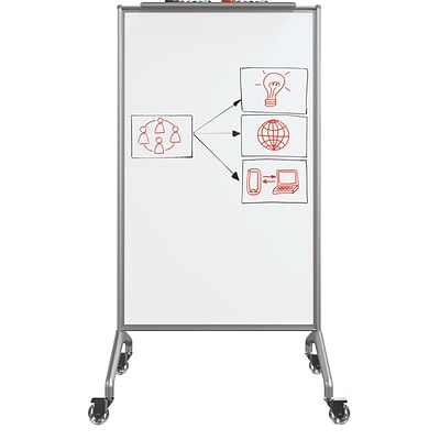 Best-Rite Glider Mobile Whiteboard, Platinum Frame, Magnetic, 59H x 32W x 22D