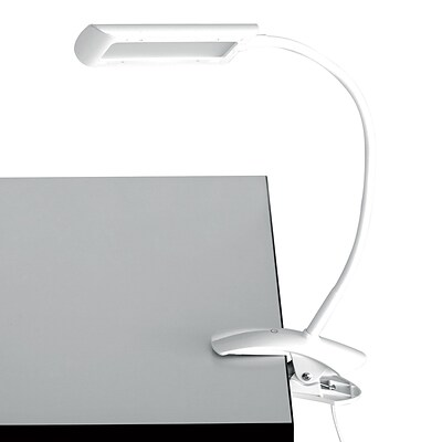 Safco 6W Clamp-On LED Task Light with Flexible Arm & 3-Step Dimmer, White (1004WH)