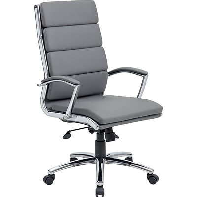 BOSS® Caresoft Plus Executive Series High Back Executive Chair with Metal Chrome Finish; Grey