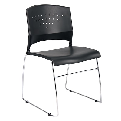 Boss® Black Stack Chair with Chrome Frame; 2/Set