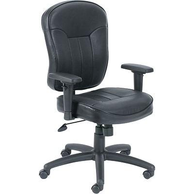 Boss® Black Leather Task Chair with Wild Arms