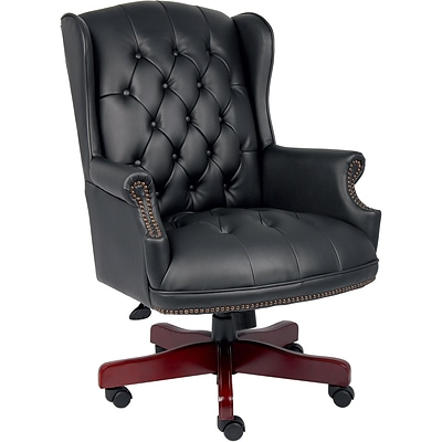 Boss® Wingback Traditional Guest Chair in Black with Casters