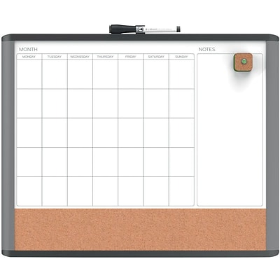 U Brands MOD Magnetic Dry Erase 3-In-1 Calendar Board 20 x 16 Black and Gray Frame